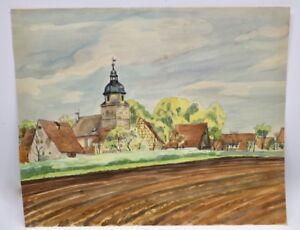 Aquarell-Fraenkisches-Dorf-mit-Kirche