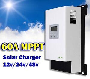 60A MPPT régulateur de charge solaire 12v 24v 48v LCD