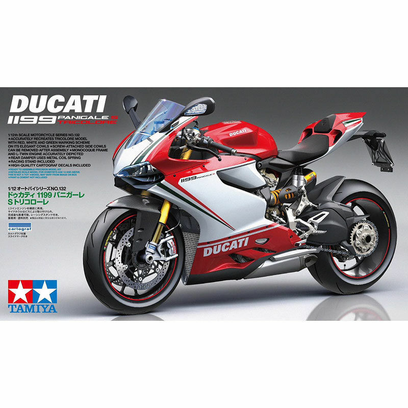 Ducati 1199 Panigale S Tricolor - 1 12 Bike Model Kit - Tamiya 14132