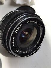 OLYMPUS ZUIKO OM AUTO-W 24mm f/2.8  Prime Lens, front/Rear Caps (2)