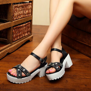D75-Women-039-s-Summer-Cross-Stars-Roman-Rhinestone-Mid-Heel-Platform-Sandals-Shoes