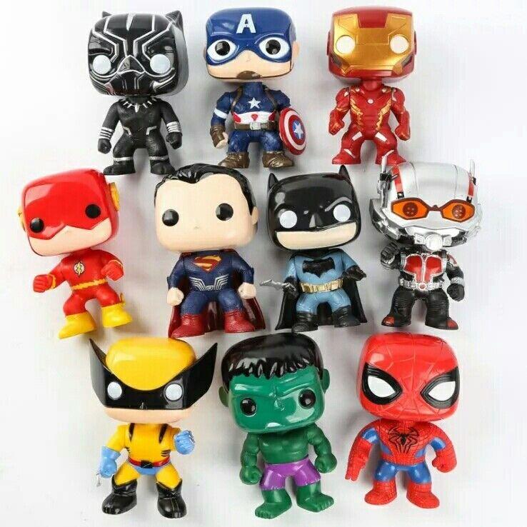 10cm DC figures Justice League Avengers Hulk iron Man flash Spiderman x10