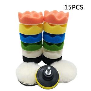 15Pcs-3-M10-Spugna-Cera-Lucidante-Cuffia-Lucidatura-con-M10-Drill-Adattatore-Kit