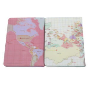 Vintage-World-Map-Passport-Cover-Travel-Card-Holder-Wallet-Protector-MA