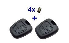 2x Auto Schlüssel Gehäuse für Peugeot 106 206 207 306 307 406 806 + 4x Taster