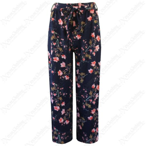 NEW LADIES FLORAL PRINT CULOTTES BELTED WOMENS FLARED CROP TROUSERS 3//4 PANTS
