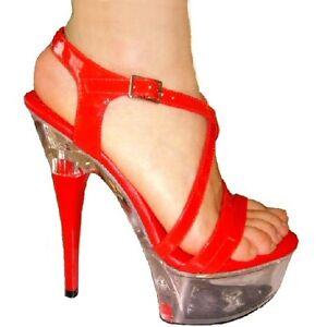 Zara Red Patent Platform Pole Dancer Sandals 6 inch Stiletto Heel UK ...