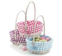 White Willow Easter Basket W/ Gingham Liner & Free Personalization - 3 Styles