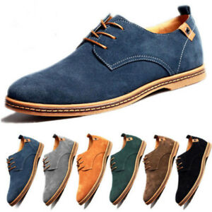 Men-Suede-Leather-Shoes-Lace-Up-Casual-Flats-Loafers-Dress-Formal-Oxfords-Shoes