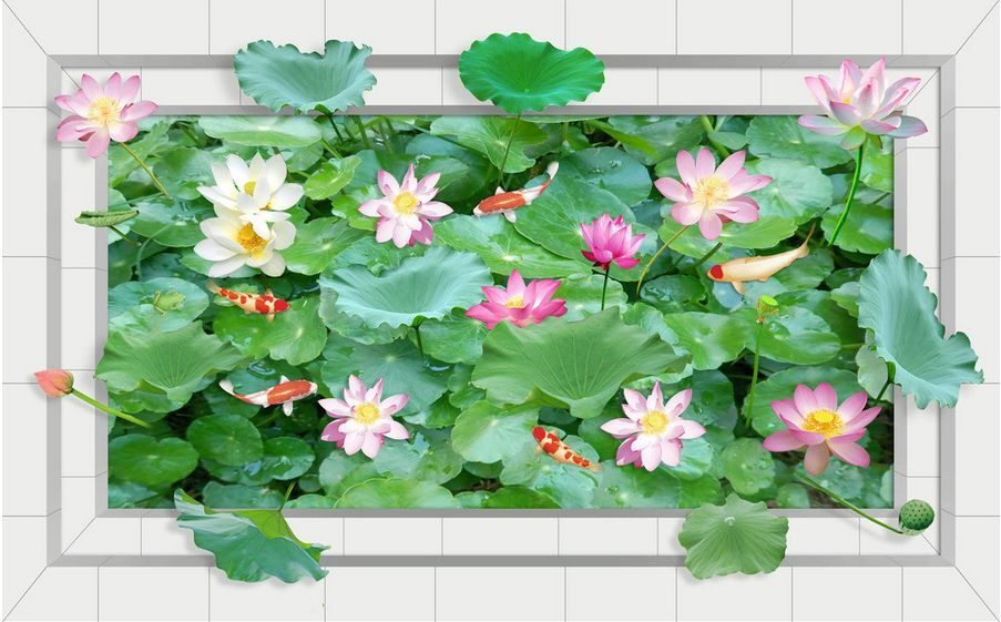 3D 3D 3D flower fish 0524 Paper Wall Print Decal Wall Deco Wall Murals AJ WALLPAPER a7a5ec