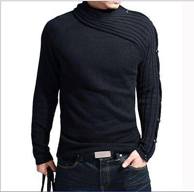 Fashion Men's Long Sleeve Knitwear Knitted Sweater Turtleneck Sweaters Sz M-XXL
