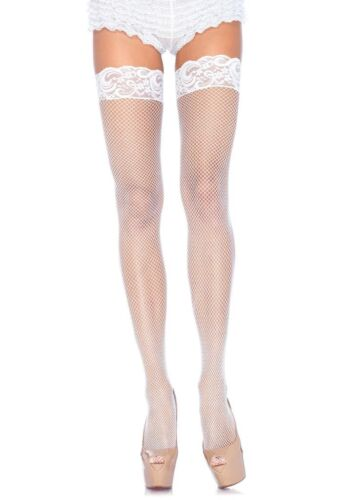 L14 WHITE FISHNET THIGH HIGH STOCKINGS WITH A LACE TOP PLUS SIZE