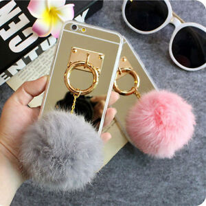 Mirror 3d Warm Fuzzy Fluffy Fur Metal Hand Ring Case Cover