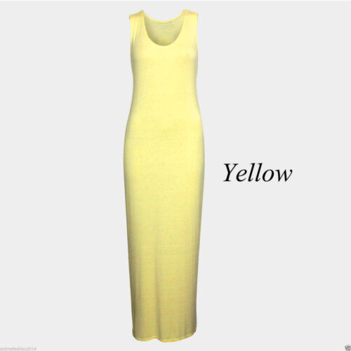 Ladies Jersey Women Long Summer Vest Racer Muscle Back Maxi Dress Plus Size 8-30