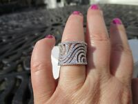 Bella Luce 1.54 Ctw Rhodium Plated Sterling Silver Wide Swirl Cz Ring
