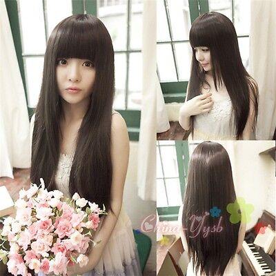 Delightful! Womens Girls Long Straight Full Wigs Neat Bangs Natural Black Wig