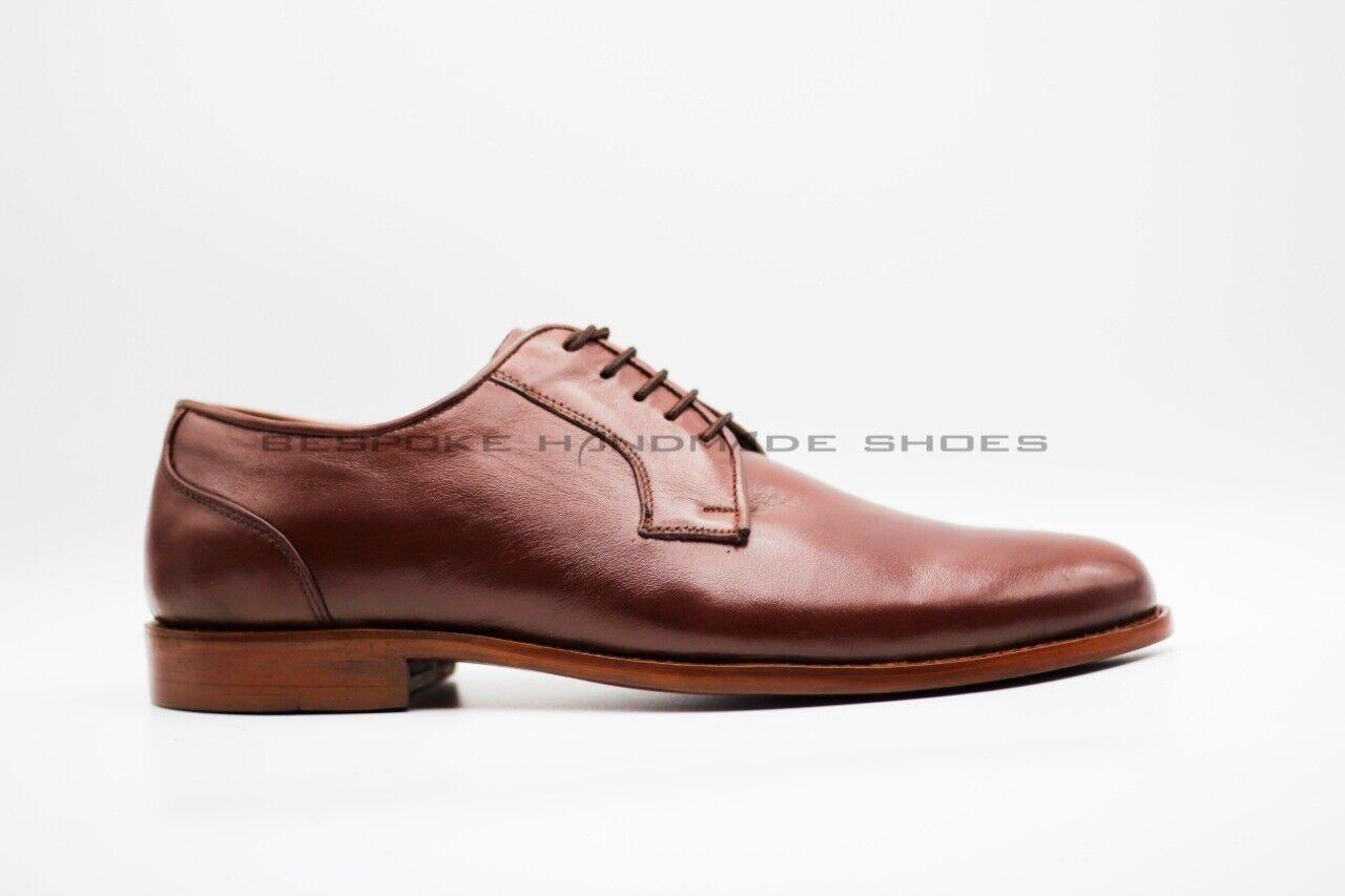 Para hombres Cuero Genuino Marrón Bespoke hecho a Mano DERBY Zapatos Con Cordones Calidad Premium