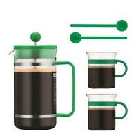 Genuine Bodum Bistro Coffee Set 34oz French Press Coffee Maker Glass Cups Spoons