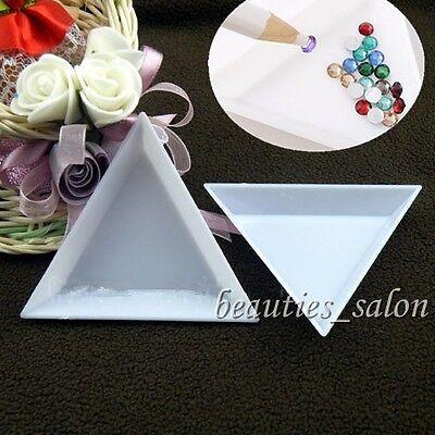 2Pcs/Set Nail Art Stud Storage Display Plate Empty Triangular Plastic Plate