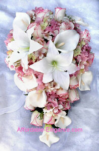 Image Is Loading Pink Cascade Bridal Bouquet Roses Calla Lilies Hydrangea