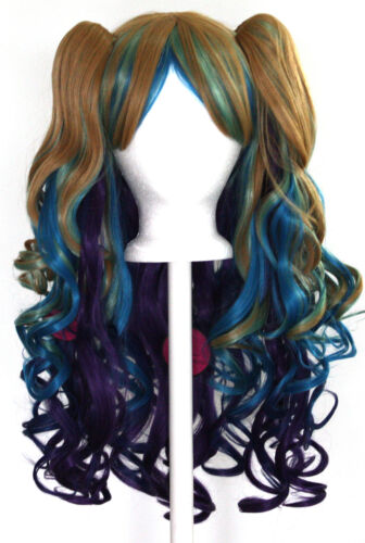 20/'/' Lolita Wig 2 Pig Tails Set Peacock Rainbow Blend Cosplay Gothic Sweet NEW
