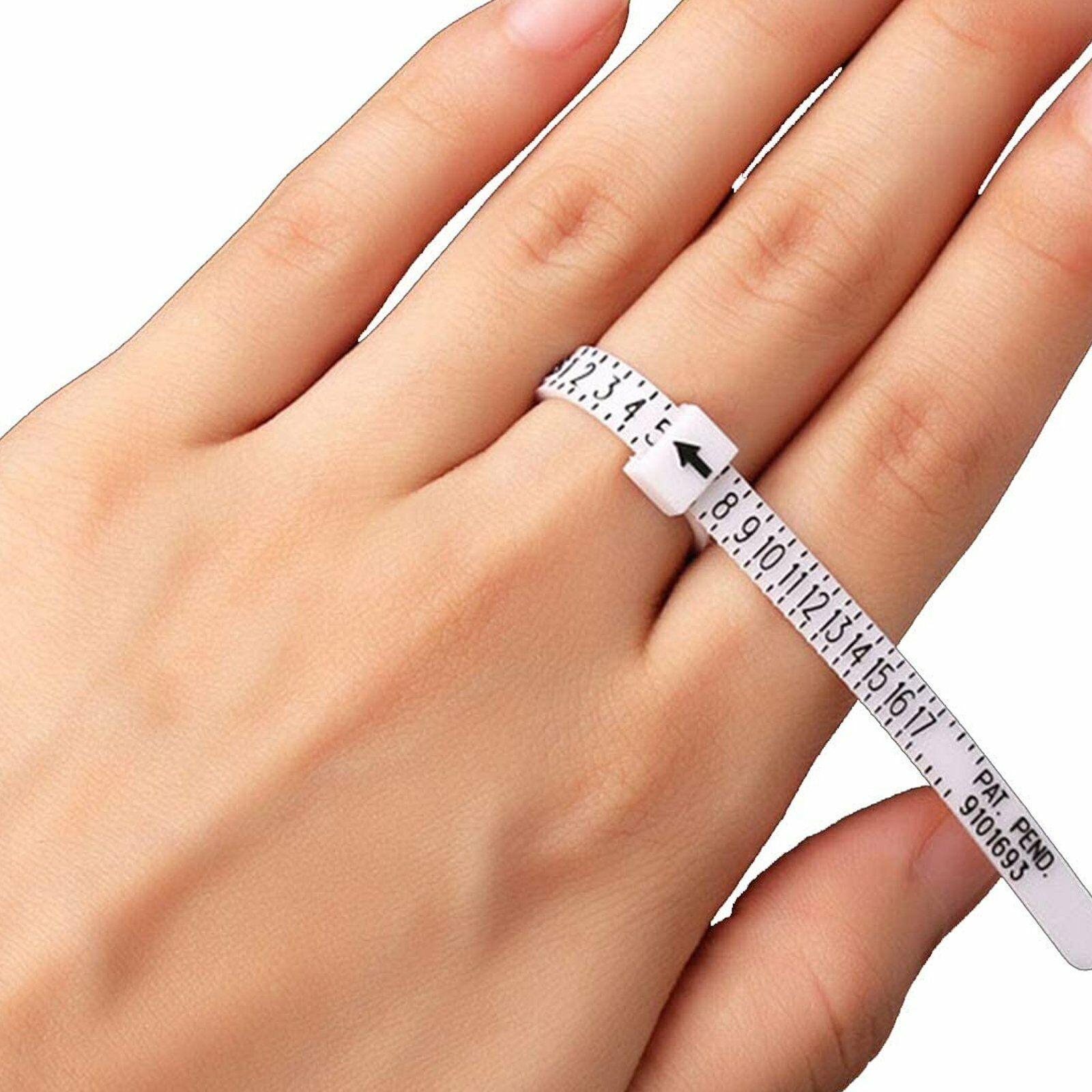 2-Pack Ring Sizer Measure Tool Gauge Plastic Finger Sizing Finder Reusable 1-17