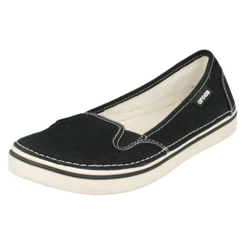 SALE LADIES CROCS HOVER SLIP ON CANVAS SUMMER CASUAL FLAT LOAFER SHOES PUMP UK 2