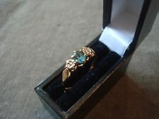 LADIES 9CT .375 YELLOW GOLD DIAMOND / TOPAZ RING 1.9g SIZE P 1/2 BOXED REF 4534