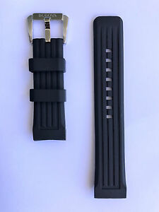 Original-Bulova-Precisionist-Black-Rubber-Strap-Band-for-Watch-98B172