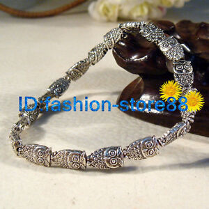 New-Workmanship-Fine-Fashion-Tibetan-Silver-Lucky-Owl-Bracelet-Elastic