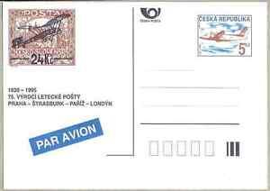 Czech Republic 1995 MNH POSTAL CARD 75th anniv. of air mail Praha-Strasbourg