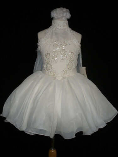 New Infant Girl /& Toddler National Pageant Wedding Formal Party Dress  white