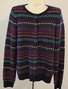 9e790b5e415ff Talbots Cardigan Sweater L Blue Fair Isle Stripe Sequins Lambswool ...