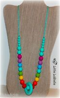 Rainbow Beads Silicone Teething Nursing Necklace Teether Ring Jewelry Fast Ship