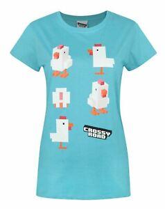 Crossy-Road-Chicken-Blue-Women-039-s-T-Shirt