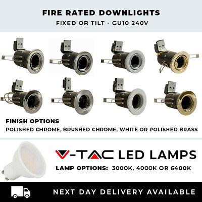 Fire Rated Downlights Fixed//Tilt//GU10//240V Chrome//Satin Chrome//White