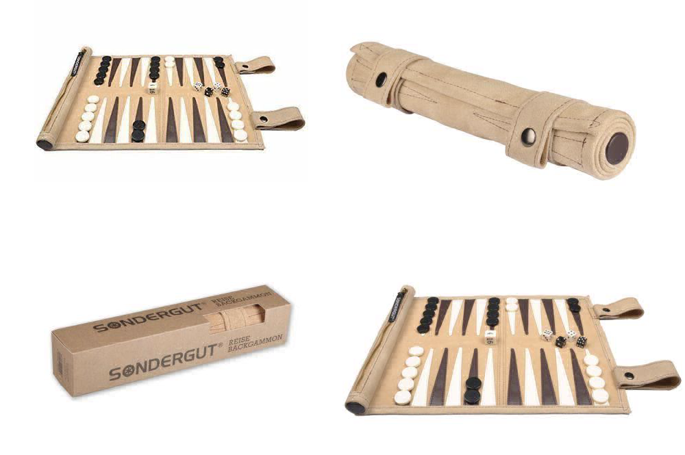 SONDERGUT - Backgammon - Travel Backgammon Set - Genuine Leather - Colour  Cream