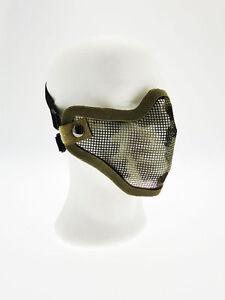 Masque-Tactique-Metal-Moitie-Face-Filet-Camouflage-Royal