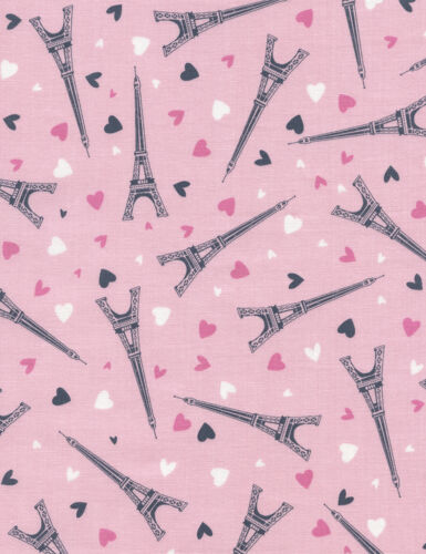 Fabric Eiffel Tower /& Hearts on Pink Cotton by the 1//4 yard BIN