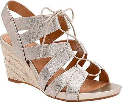 Clarks Artisan Acina Chester Wedge Sandals Gold Metallic Leather 26126446 | eBay