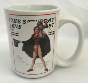Norman-Rockwell-Saturday-Evening-Post-Coffee-Mug-Christmas-Tiny-Tim-and-Scrooge