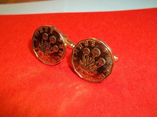 Rara moneda de bits Tres Peniques Gemelos 1950-69th Cumpleaños