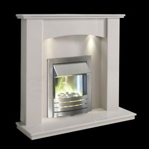 White Marble Surround Modern Electric Led Fire Pebbles