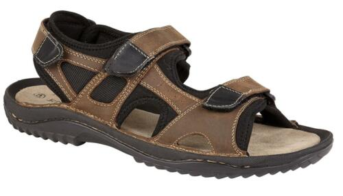 NEW MEN/'S GENT/'S NUBUCK LEATHER CASUAL SPORTY RIP TAPE SANDAL HOLIDAY BEACHWEAR