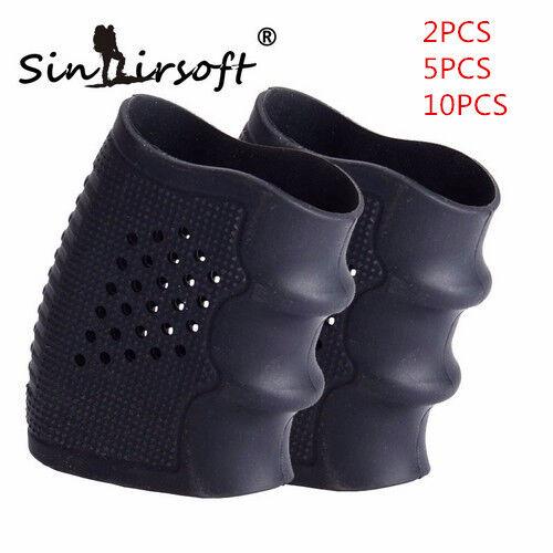 Tactical Pistol Rubber Holster Grip Finger Glove Anti Slip Fit Glock Handguns Bk