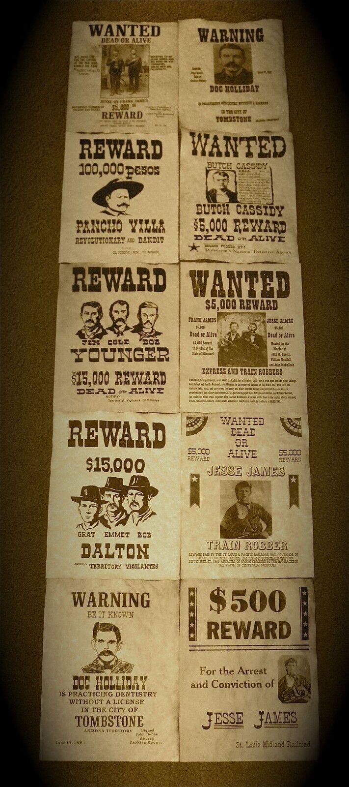 Dollhouse Miniature Old West Jesse James Reward Poster