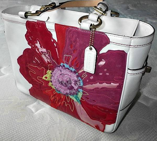d0e64d06fe ... ireland coach ltd ed poppy for peace white leather red floral gallery  tote purse bag wow ...
