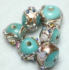 20 INDIAN FANCY LAMPWORK GLASS BEADS TURQUOISE 8mm ROUND (BBB558)