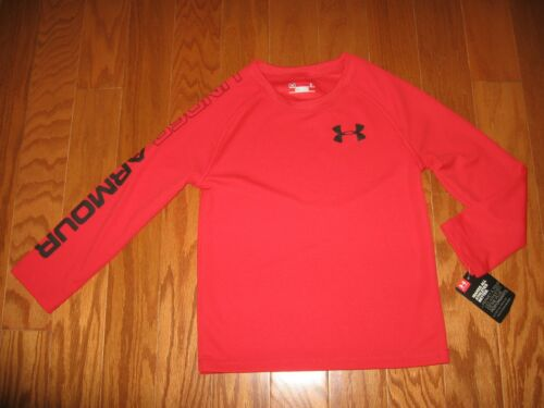 UNDER ARMOUR LONG SLEEVE SHIRT BOYS RED// GRAY SIZE 4//5//6//7 NWT
