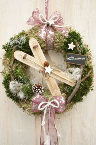 z natur Landhaus Shabby data-mtsrclang=en-US href=# onclick=return false; show original title Details about  /Türkranz Ski Red White Pink Christmas Christmas Wreath Natural Cottage Shabby